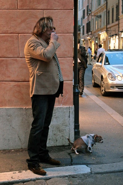 Mickey Rourke and Companion Get A Piss Out Of Rome