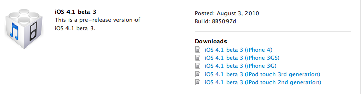 iOS 4.1 Beta 3 Now Available to iPhone Developers