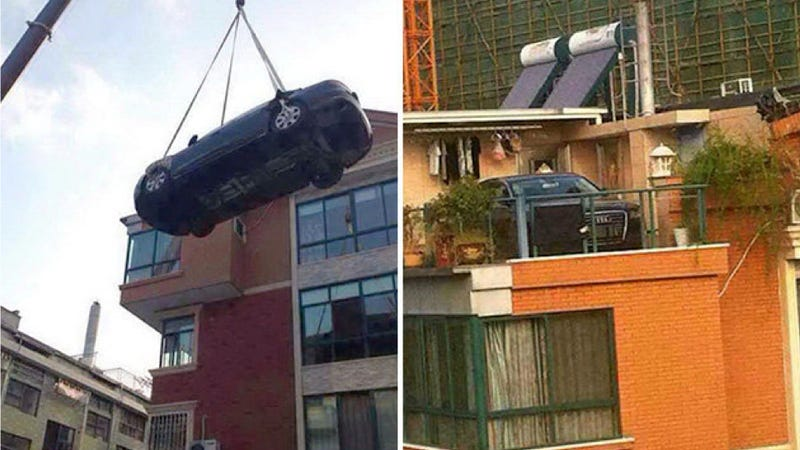 Chinese Woman Gets Revenge On Son-In-Law By Putting Car Onto Building