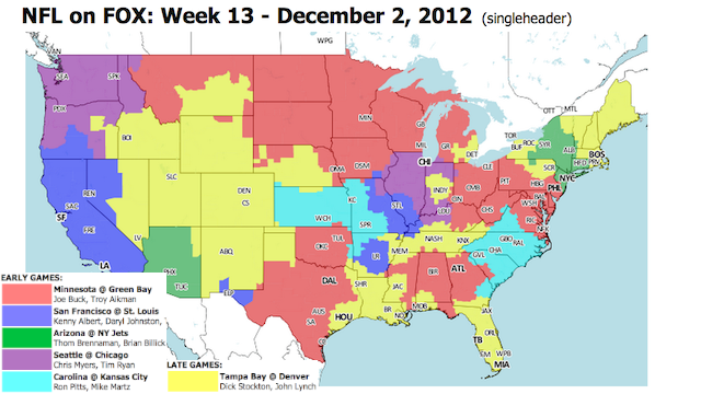 Which TV Market Is Getting Screwed This Sunday? An Analysis Of Week 13 NFL Viewing Maps