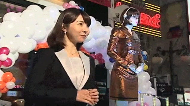 Adorable Little Girl Practices Bowing with a Korean Robot