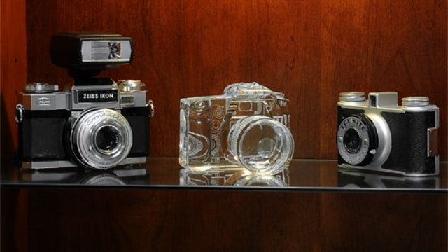 These Crystal DSLR Bookends Are the Clearest Cameras Ever