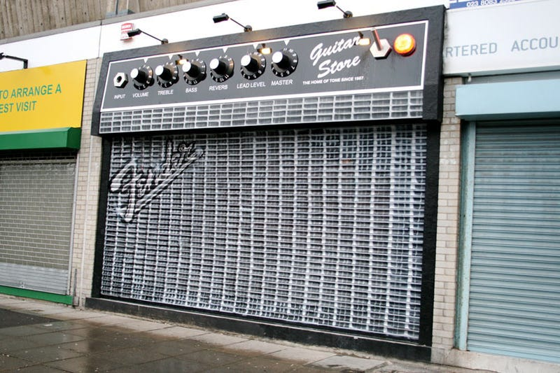 Closed Store Grate Turned Into Gigantic Amp
