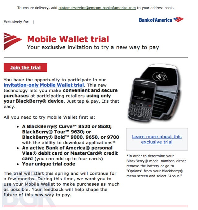 Leak: NFC BlackBerrys Are Being Tested at Bank of America