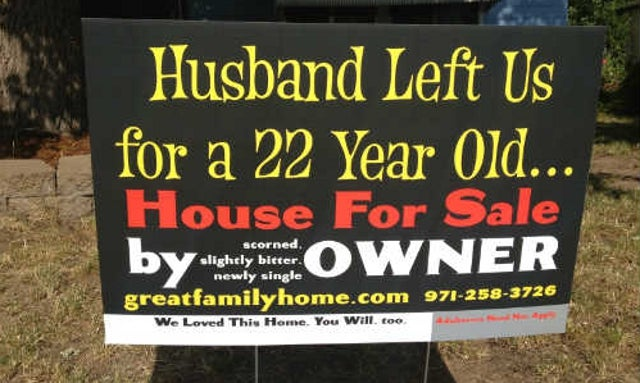 'Scorned' Woman Makes Husband's Affair Public in House For Sale Sign