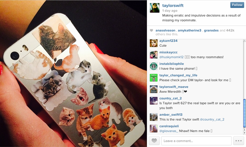 Taylor Swift Is Fine and Good and Covered Her Phone in Cats She's Good