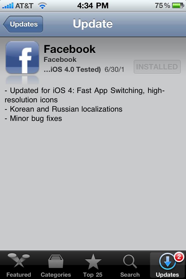 Facebook App Updated for iOS 4