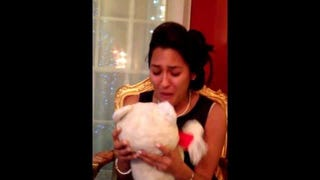Man Surprises His Fiancée With Long-Lost Teddy Bear as Christmas Gift