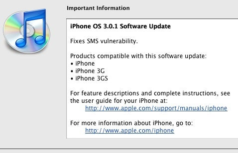 iPhone 3.0.1 Update Fixes SMS Vulnerability