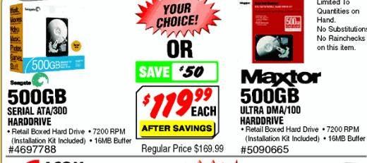 Dealzmodo: Maxtor/Seagate 500GB Hard Drives $119