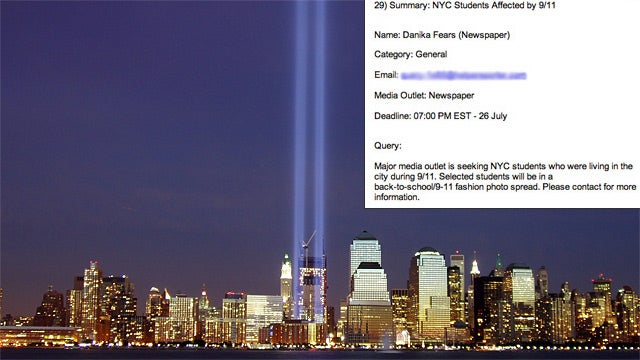 Newspaper Seeks Models For 'Back-to-School 9/11 Fashion Photo Spread'