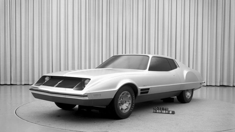 This is a rejected design for the Ford Mustang II. It was not alone.
