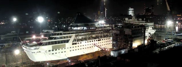 Watch this cruise ship get cut in half and remade 99 feet longer