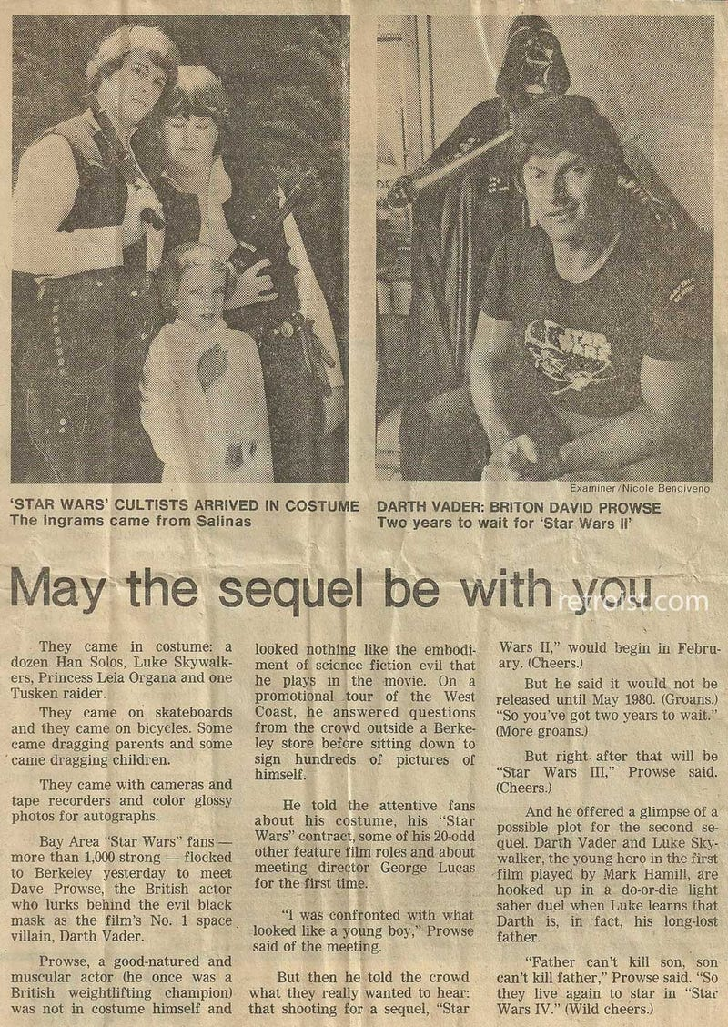 In 1978, Darth Vader's actor spoiled the Empire Strikes Back's ending to a local newspaper