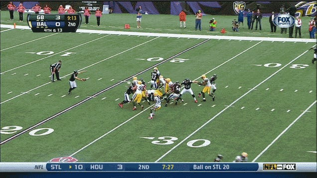 Ravens Somehow Pick Up First Down By Getting Their Punt Blocked