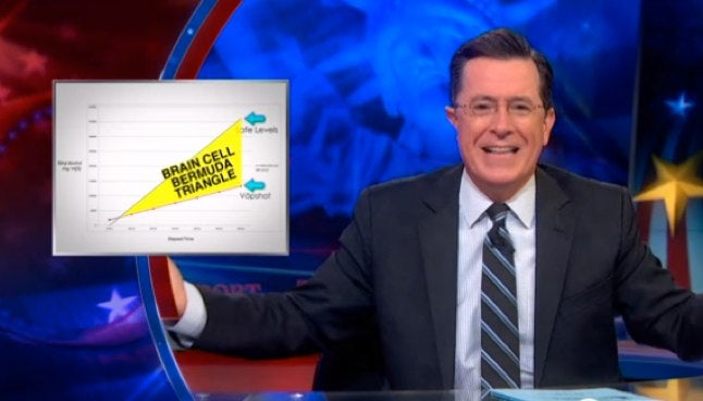 Stephen Colbert Points Out Vaping Alcohol Might Be a Bad Idea
