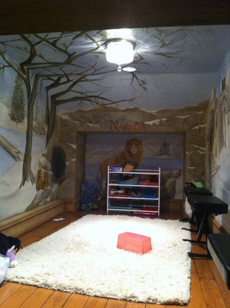 Secret door inside this wardrobe leads to a Narnia-themed playroom
