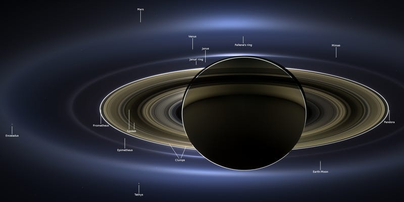 Over a dozen celestial objects can be seen in this photo of Saturn