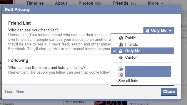 how to put facebook on private