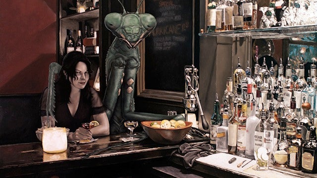 Concept Art Writing Prompt: Sitting at the Bar with a Giant Praying Mantis
