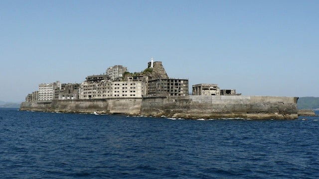 The abandoned man-made island shaped like a battleship