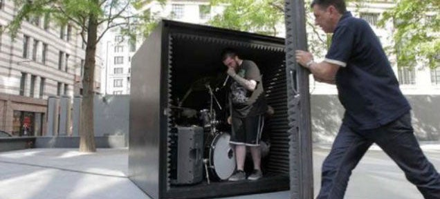 Death metal band will play in this sealed metal box until they pass out
