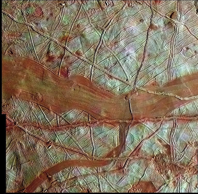 Never-Before-Seen Photo of Europa Shows Rivers of Red Ice