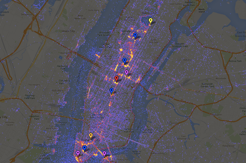 Interactive heat map shows off the most photographed sightseeing spots