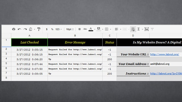 Use Google Docs to Monitor Your Website's Uptime