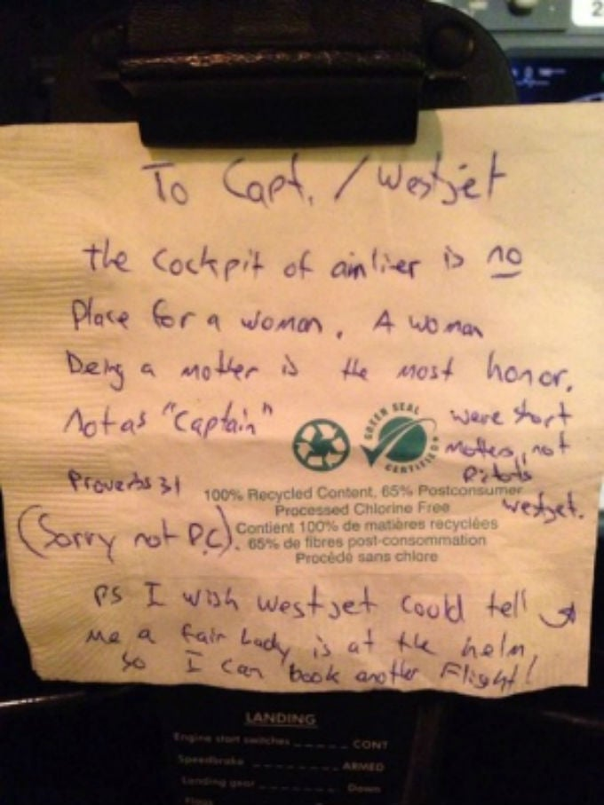 Female Pilot Gets Sexist Note From Sexist Passenger