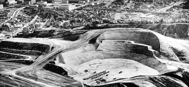 It Took 19 Huge Earthmovers To Carve Dodger Stadium Out of a Mountain