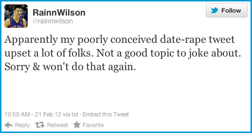 Rainn Wilson Makes Very Unfunny Date Rape Joke, Pisses Everyone Off [UPDATED]