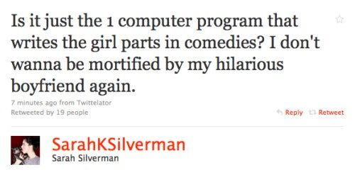 Sarah Silverman Figures Out Why Chick Flicks Suck; Kirstie Alley Forgives Tiger