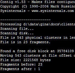Download of the Day: Contig file defrag (Windows)