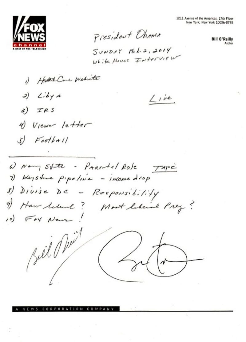 The Notes for Bill O'Reilly's Obama Q-and-A Are a Fox News Fever-Dream