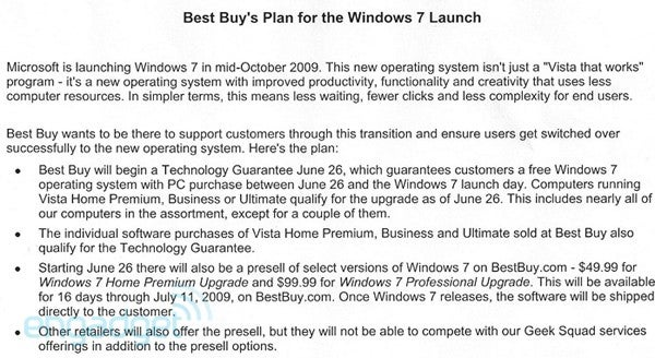 Best Buy's Upgrade Pricing for Windows 7: Free, $50, $100 Depending on Your Situation