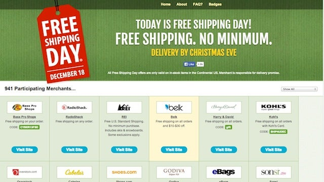 Today Is Free Shipping Day: Buy from 900 Stores In Time for Christmas