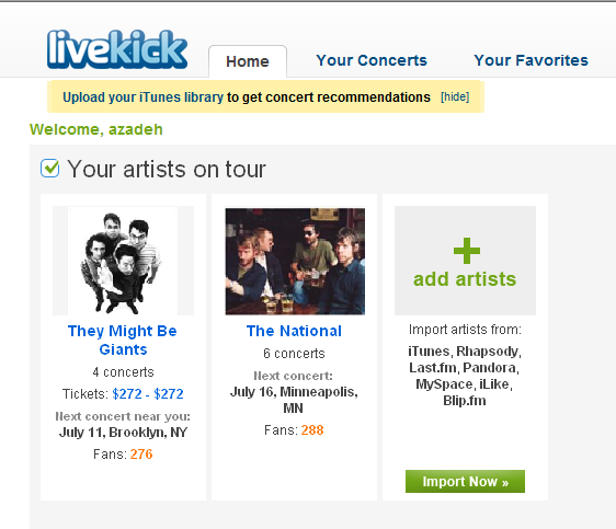 Livekick Searches and Finds Local Concerts and Tickets