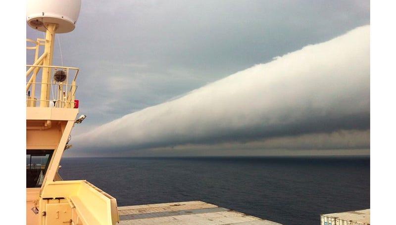 Tubular Roll Clouds Look Like a Toppled Tornado