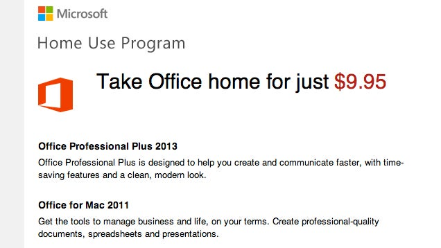 Get Microsoft Office for $9.95 From Your Employer