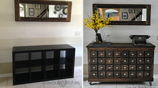 Turn IKEA Cubbies into a Rustic Apothecary Chest