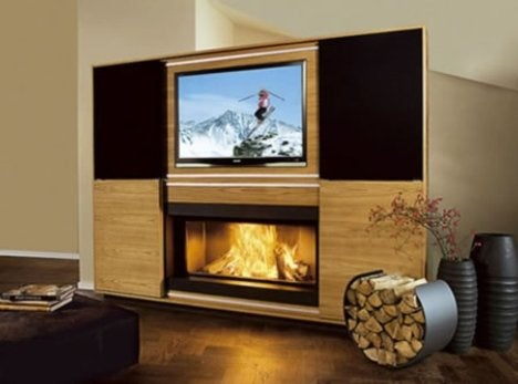 Fireplace with Built-In TV Might Melt Your TV, But the Neighbors Sure Will Be Impressed