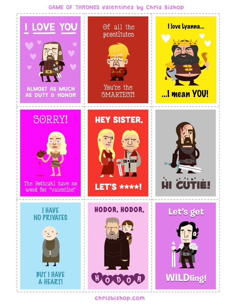 Game of Thrones Valentines: So Full of Win, You'll Die