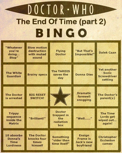 "Play Along At Home: Doctor Who ""End Of Time"" Bingo Cards"