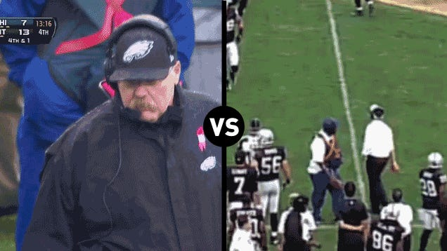 Who Has The Funnier Challenge-Flag-Throwing Motion, Dennis Allen Or Andy Reid?