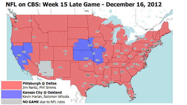 Which TV Market Is Getting Screwed This Sunday? An Analysis Of Week 15 NFL Viewing Maps