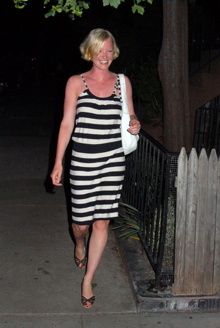 Gretchen Mol: The Answer To The Age-Old Question, What's Black & White & Red All Over