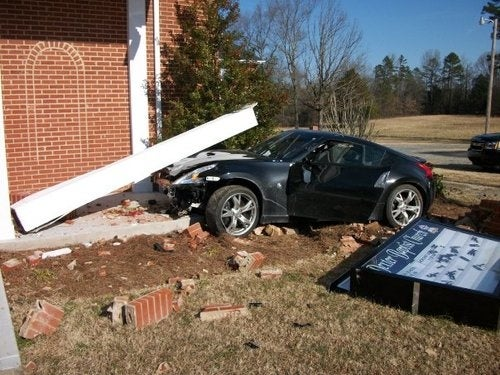 Nissan 370z Finds God, Crashes Into Church