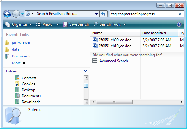 Tag files and save searches in Windows Vista