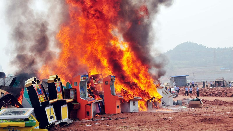 Chinese Cops Burn Game Machines
